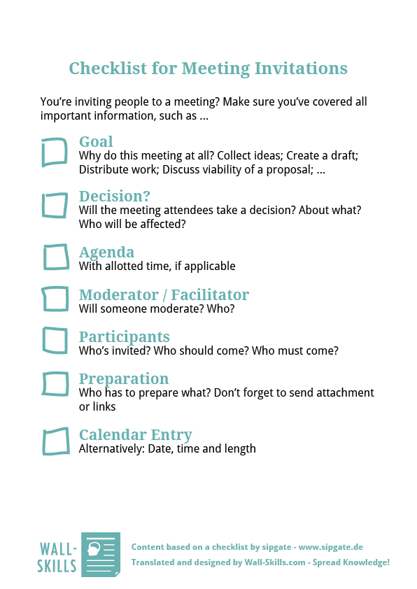 Squishy Mushy Checklist : Checklist for Meeting Invitations Wall-Skills.com