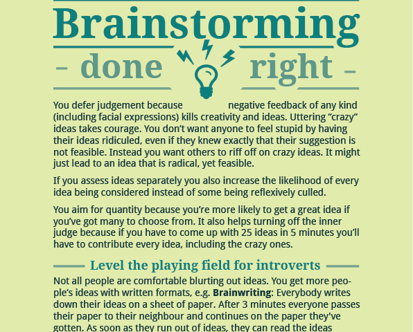 Brainstorming – Done Right